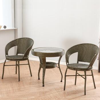 藤编钢化玻璃小圆桌休闲圆形茶几迷你阳台桌椅组合小户型户外铁艺