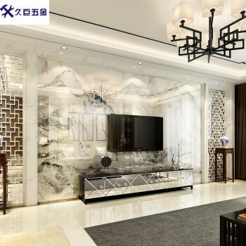 电视背景墙瓷砖 新中式客厅大理石影视墙 现代简约3d微晶石山水画