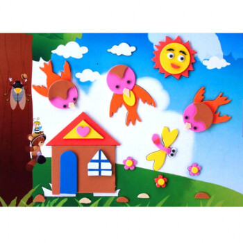 幼儿园eva贴画 宝宝3d立体粘贴画海绵贴纸儿童手工制作材料包 f新款图片