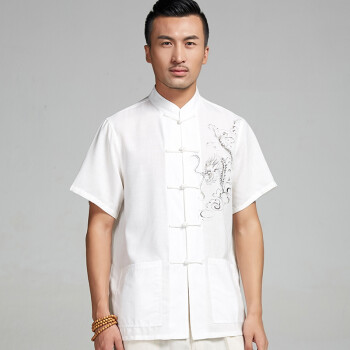 棉麻手绘唐装男2015短袖夏季衬衫中式民族