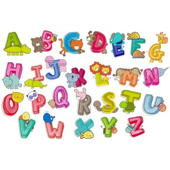 m5 26个英文字母贴纸英语单词卡通动物墙贴儿童房幼儿