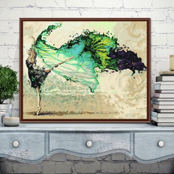 手工diy 数字油画风景古装人物手绘填色装饰画古风数字油彩画定制 g