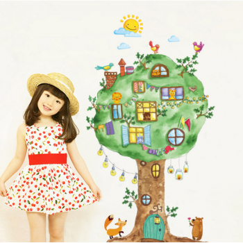 卡通动物大树 动物王国 儿童房小学生幼儿园教室装饰贴画墙面贴 花色