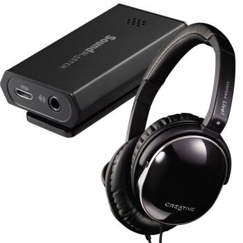 创新(Creative)Sound Blaster E1 便携耳机放大器搭配创新(Creative) Aurvana Live!生物振膜耳机套装