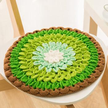 花形坐垫 手工钩针毛线地垫编织棉线材料包 莲花款绿色材料包不含工具