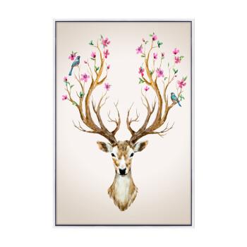 美倪纯手绘油画书房卧室玄关客厅沙发背景墙装饰画动物画吉祥麋鹿 p