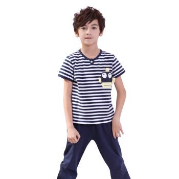 单车小熊 夏装新款 短袖海军条纹儿童睡衣 男童纯棉家居服 卡通图案套