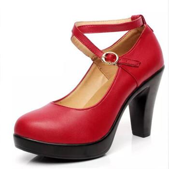 春秋旗袍单鞋女高跟粗跟防水台圆头白色皮鞋t台走秀模特舞鞋真皮 红色