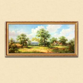 欧式挂画纯手工手绘卧室客厅油画沙发背景壁画山水风景装饰画麦田sn图片