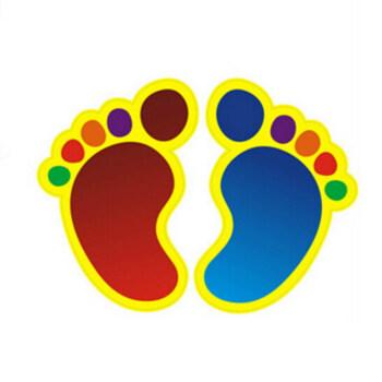 迷你脚丫贴纸 请靠右行 小心地滑 台阶 卡通笑脸脚丫地贴 幼儿园商场图片