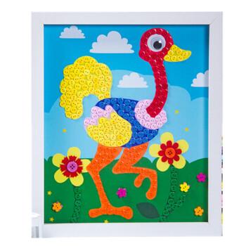 儿童手工制作益智创意纽扣画花diy材料包含裱框小猪佩奇 丹顶鹤 含裱