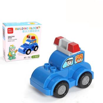 乐高积木大卡通警车百变小车拼装益智力1-2红色儿童玩具3-6周岁颗粒狗狗骑娃娃射出宝宝的图片