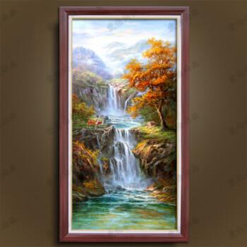 纯手绘油画欧式山水风景小鹿瀑布客厅玄关聚宝盆美式装饰画新中式