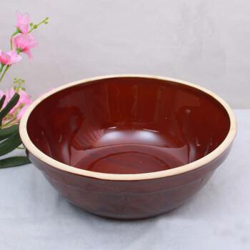 老式家用手工陶瓷和面盆加厚加深陶瓷大号发面盆揉面盆洗菜盆 红盆图片
