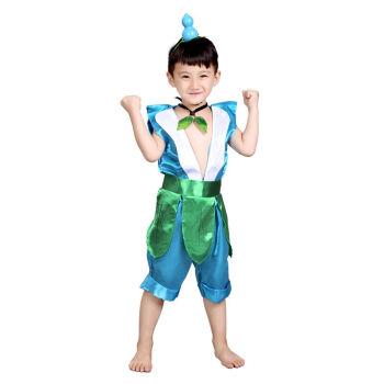 葫芦娃演出服化妆舞会服装幼儿园环保表演服装葫芦娃衣服 五娃-青色