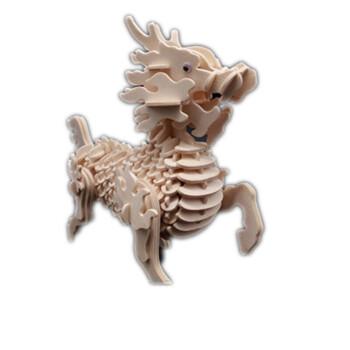 中国龙木质拼图立体3d模型仿真大动物手工制作拼装积木制玩具 麒麟