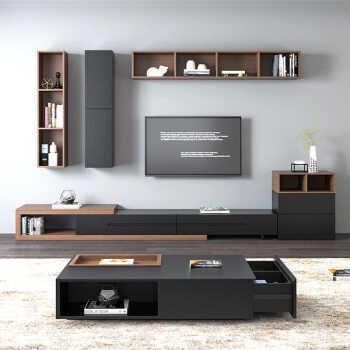 电视柜 现代简约组合伸缩电视北欧背景墙电视柜简约公寓茶几客厅家具