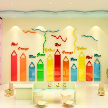 蜡笔创意幼儿园墙面装饰贴画3d立体墙贴美术教室儿童画室布置贴纸 861