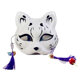 猫面具手绘 半脸猫面具 日式和风狐狸 动漫男女猫脸cosplay舞会新