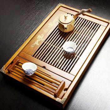 郑品 咖色杯架双龙戏珠茶盘 排水式茶盘 柏木实木茶盘 茶盘S-2014WPCP20D