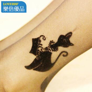 女包芯丝植绒小猫纹身百搭 丝袜连裤袜子 l-53 天猫黑+小熊肤色+纯黑.图片