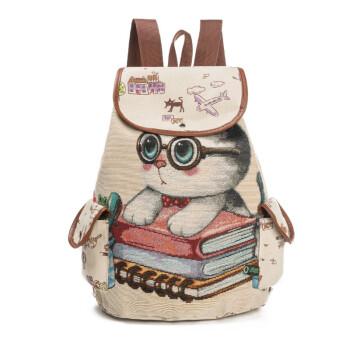 唐家小猫txt书包_猫咪爱心书本女帆布双肩包大容量学生背包书包可爱提花绣花后背包水桶