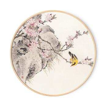 实木圆形水墨山水花鸟国画新中式玄关装饰画客厅背景挂画餐厅壁画