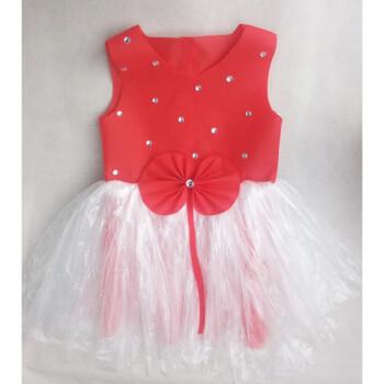 新款儿童环保服diy手工制作时装秀演出服幼儿园服装女子走秀裙 红色