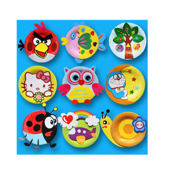 动物彩色diy纸盘子贴画 幼儿园教室布置儿童手工创意墙贴材料包 纸盘