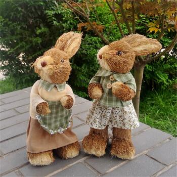 草编兔子夫妇 工艺品兔子 森系仿真小动物摆件 zakka家居装饰结婚礼物