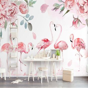 北欧风格手绘火烈鸟壁纸会所美容院ins墙纸电视背景墙布艺术粉色