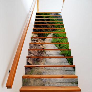 高山瀑布创意家居楼梯贴台阶装饰3d立体画楼梯贴纸可定制 g367徽杭图片