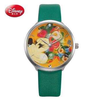迪士尼(Disney)女士手表可爱米妮大表盘时尚中小学生腕表简约皮质表带石英防水女生手表绿色 MK-11067GN
