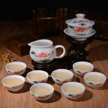 金灶(KAMJOVE)白瓷功夫茶具套装品茗杯 陶瓷茶具茶壶茶杯套装礼品装 雅荷款  KP-308