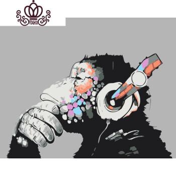 动物猩猩斑马diy手绘客厅装饰画 6252摇滚猩 60*75亮光款(已绷好内框)