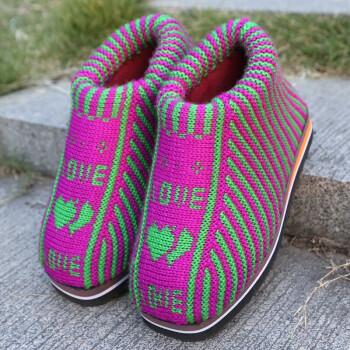 毛线拖鞋手工编织秋季居家棉鞋滑鞋底婚嫁勾线鞋 女款