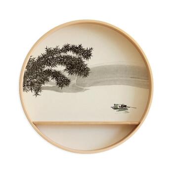 实木圆形禅意挂画新中式入户玄关装饰画现代餐厅茶室水墨壁画 1-湖上