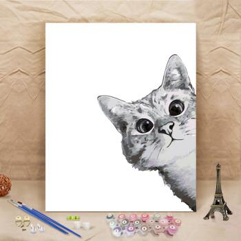 萌系卡通黑白猫动物填色油彩画休闲手绘儿童diy数字油画装饰画 b144