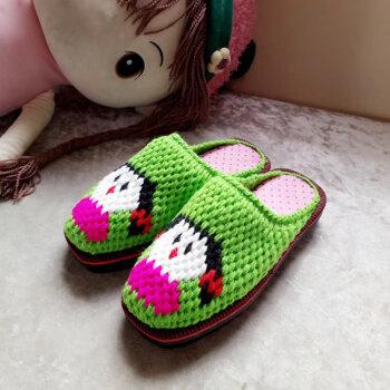 fulai)儿童手工编织小女孩图案居家防滑舒适平跟宝宝爸爸毛线拖鞋生活