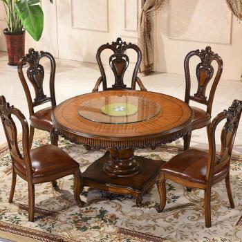 北欧风格圆形餐桌椅组合美式餐桌餐厅圆桌餐桌大圆桌饭桌餐厅家具 无