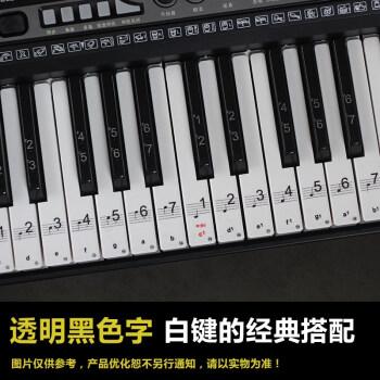88键61键54键 透明钢琴键盘贴纸 电子琴琴贴五线谱简谱音符键位贴 61图片