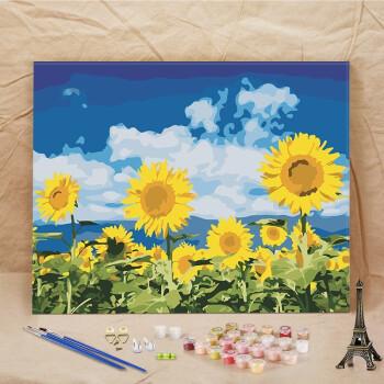 diy数字油画简易手绘画填色画油彩画风景花卉客厅装饰