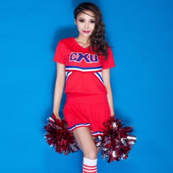 幂范西中学生啦啦操表演服套装女足球篮球拉拉队舞蹈裙亮片街舞演出服图片
