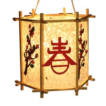 手工灯笼制作材料包儿童自制花草纸创意宫灯挂饰 黄面4角灯笼无装饰