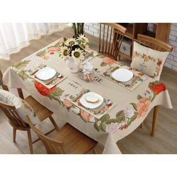简约现代棉麻餐桌布艺正方形长方形家用圆桌布茶几台盖布可定制 一念