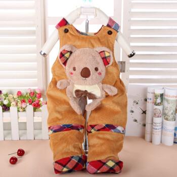 童趣熊宝宝绒灯芯绒夹棉背带裤婴幼儿可爱小熊造型背带裤棉裤2052 80