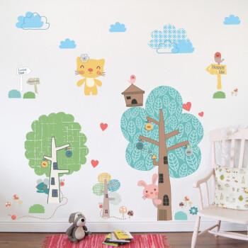 大型卡通卧室儿童房背景墙贴纸可爱幼儿园教室大树装饰品墙纸贴画