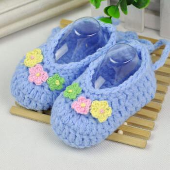 yamilan婴儿毛线袜新生儿手工编织鞋袜男女幼儿立体地板袜春秋薄款