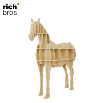 盈进北欧创意马边几动物摆件置物架创意家居马形书架客厅艺术 水曲柳