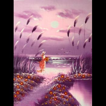 纯手绘风景油画浪漫海边小女孩沙滩望海少女房间紫色装饰画 紫色图三